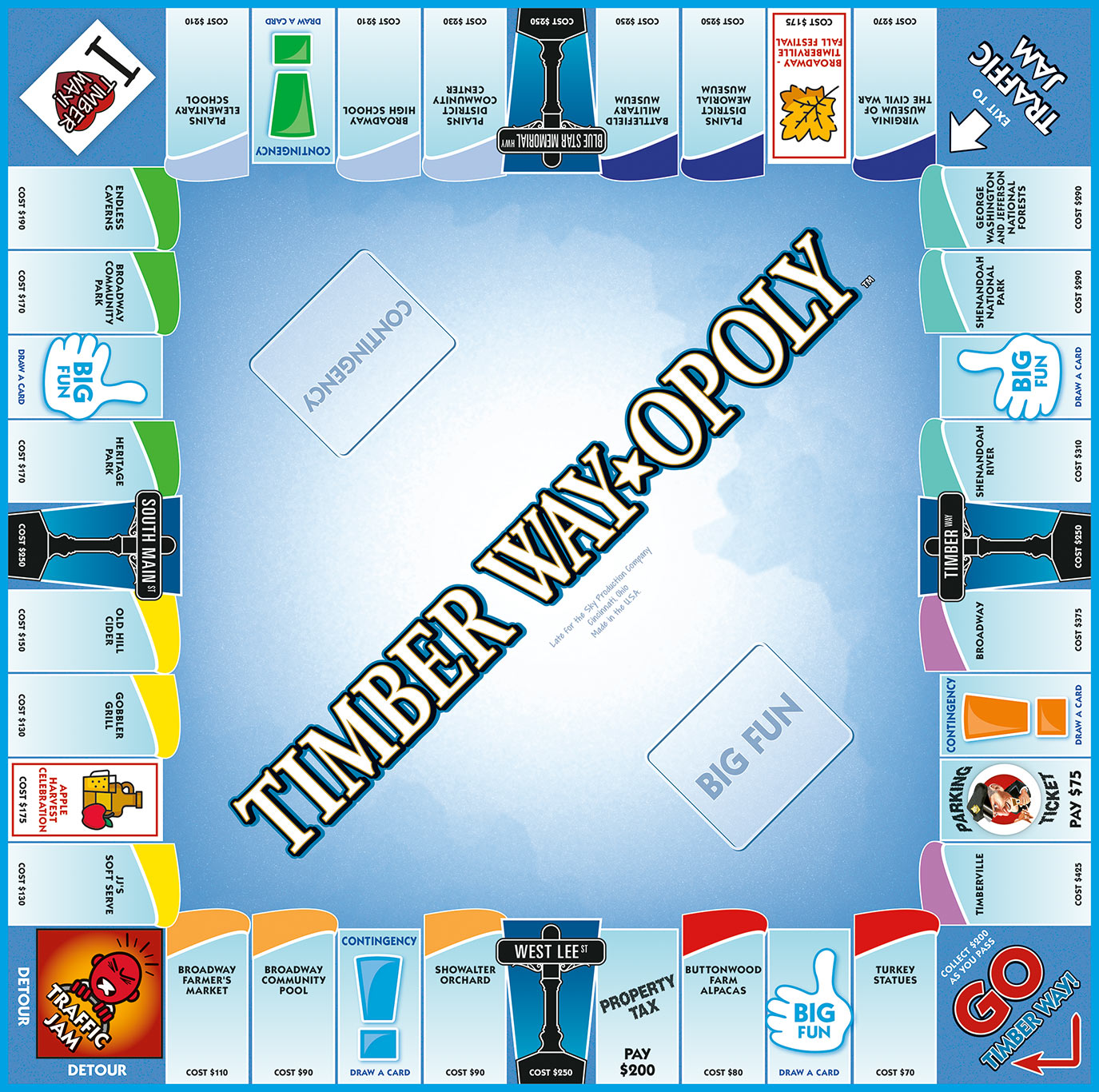 TIMBERWAY-OPOLY Board Game