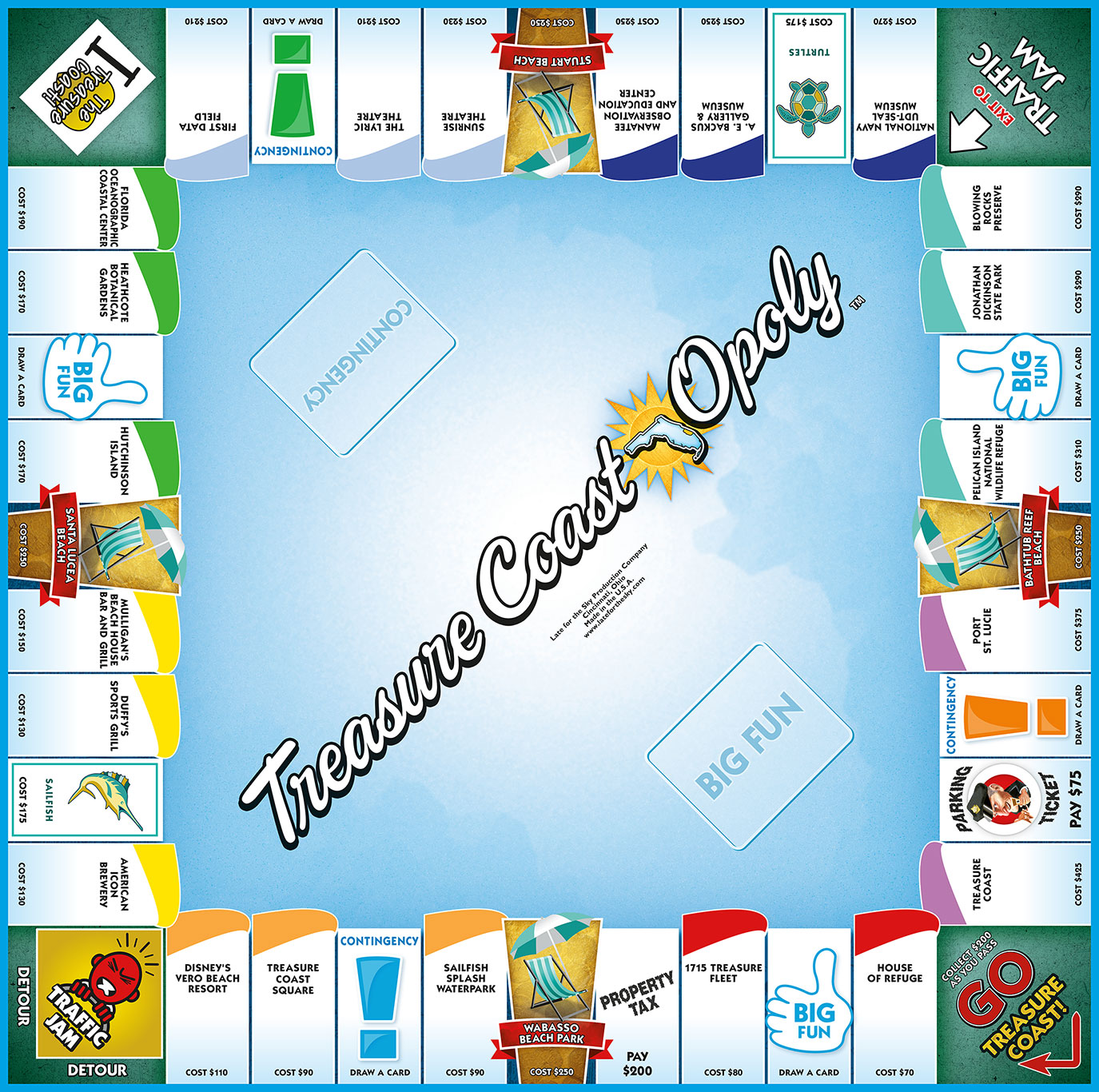 TREASURE COAST-OPOLY Board Game