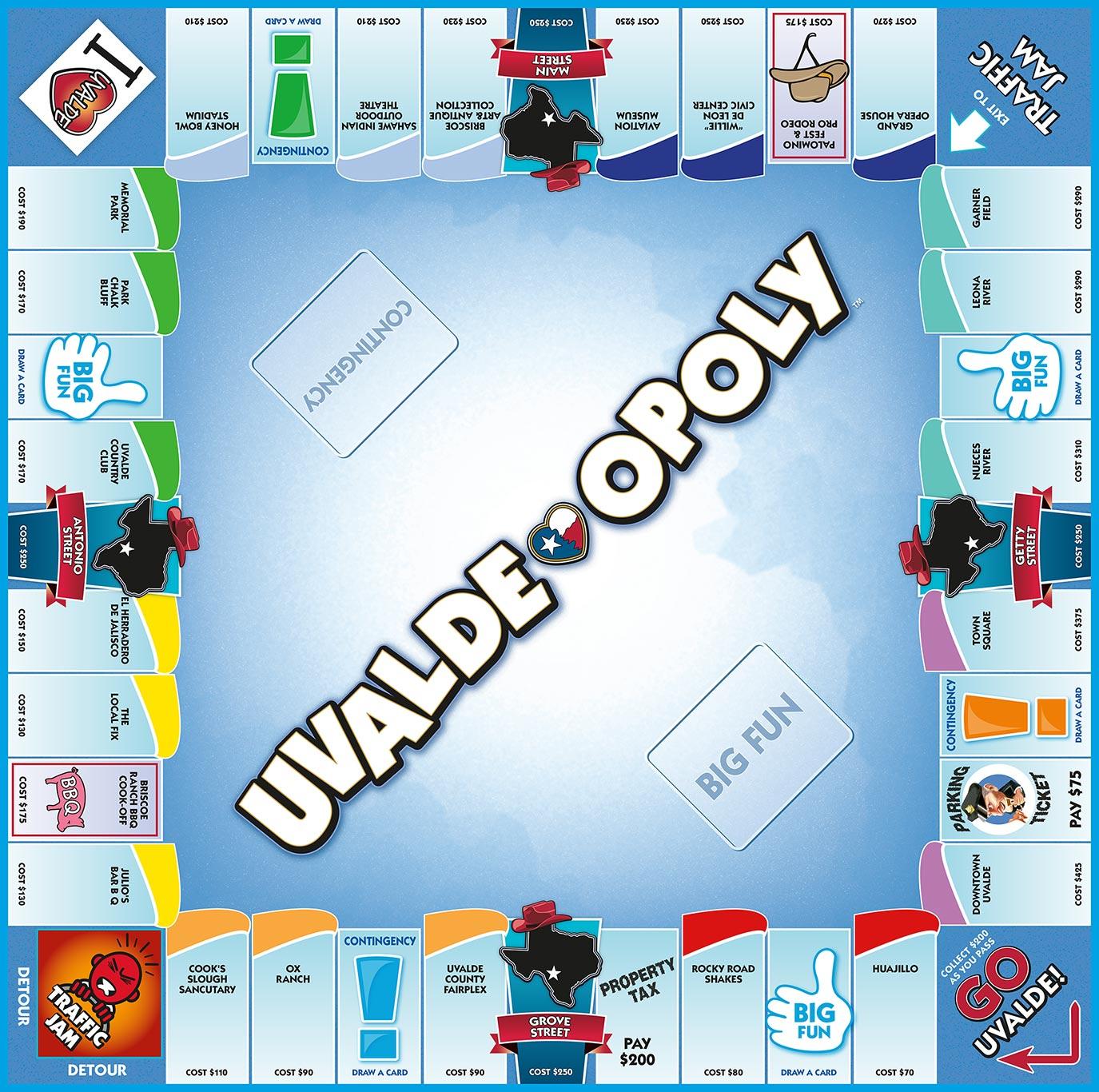 UVALDE-OPOLY Board Game