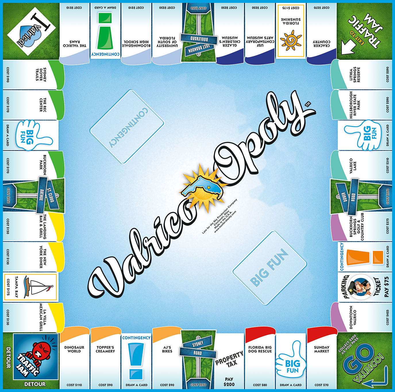 VALRICO-OPOLY Board Game