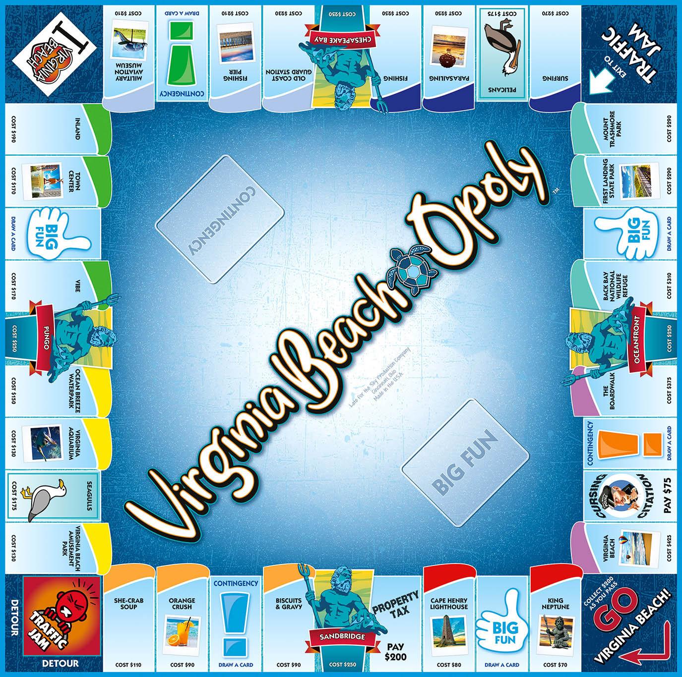 VIRGINIA BEACH-OPOLY Board Game