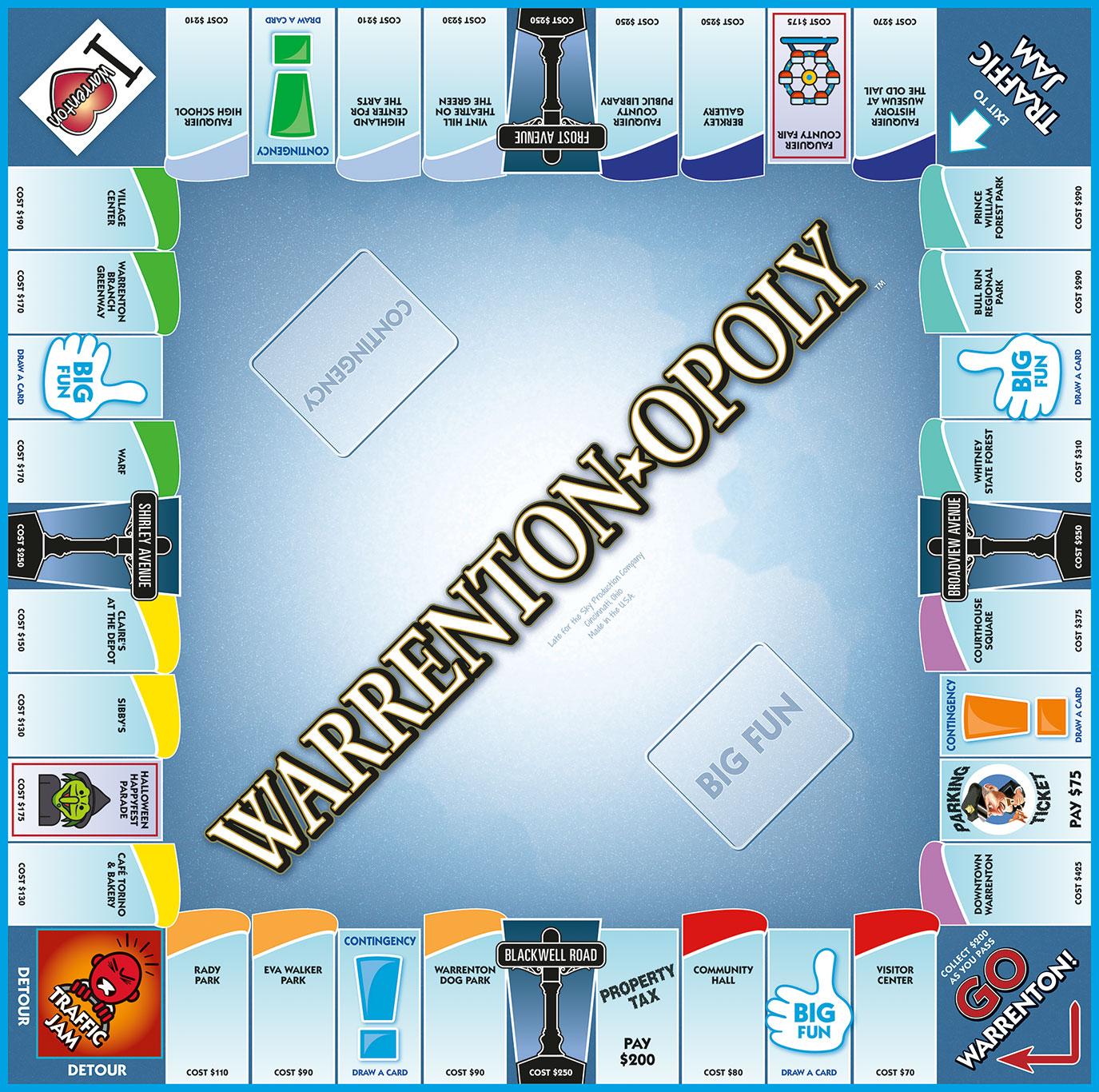 WARRENTON-OPOLY Board Game