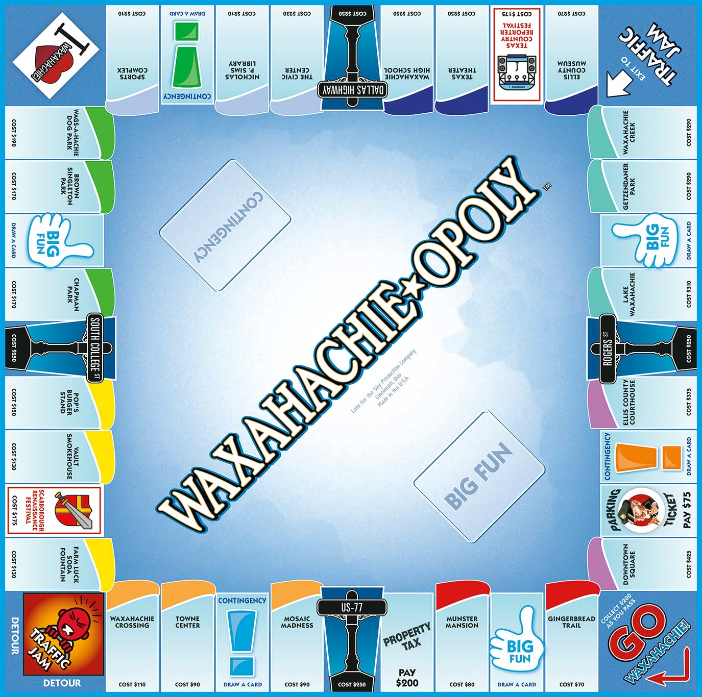 WAXAHACHIE-OPOLY Board Game