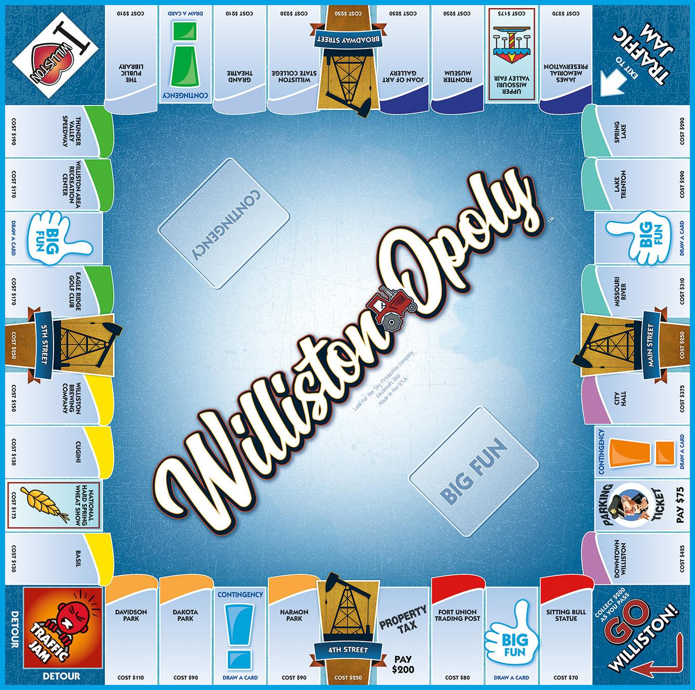 WILLISTON-OPOLY Board Game