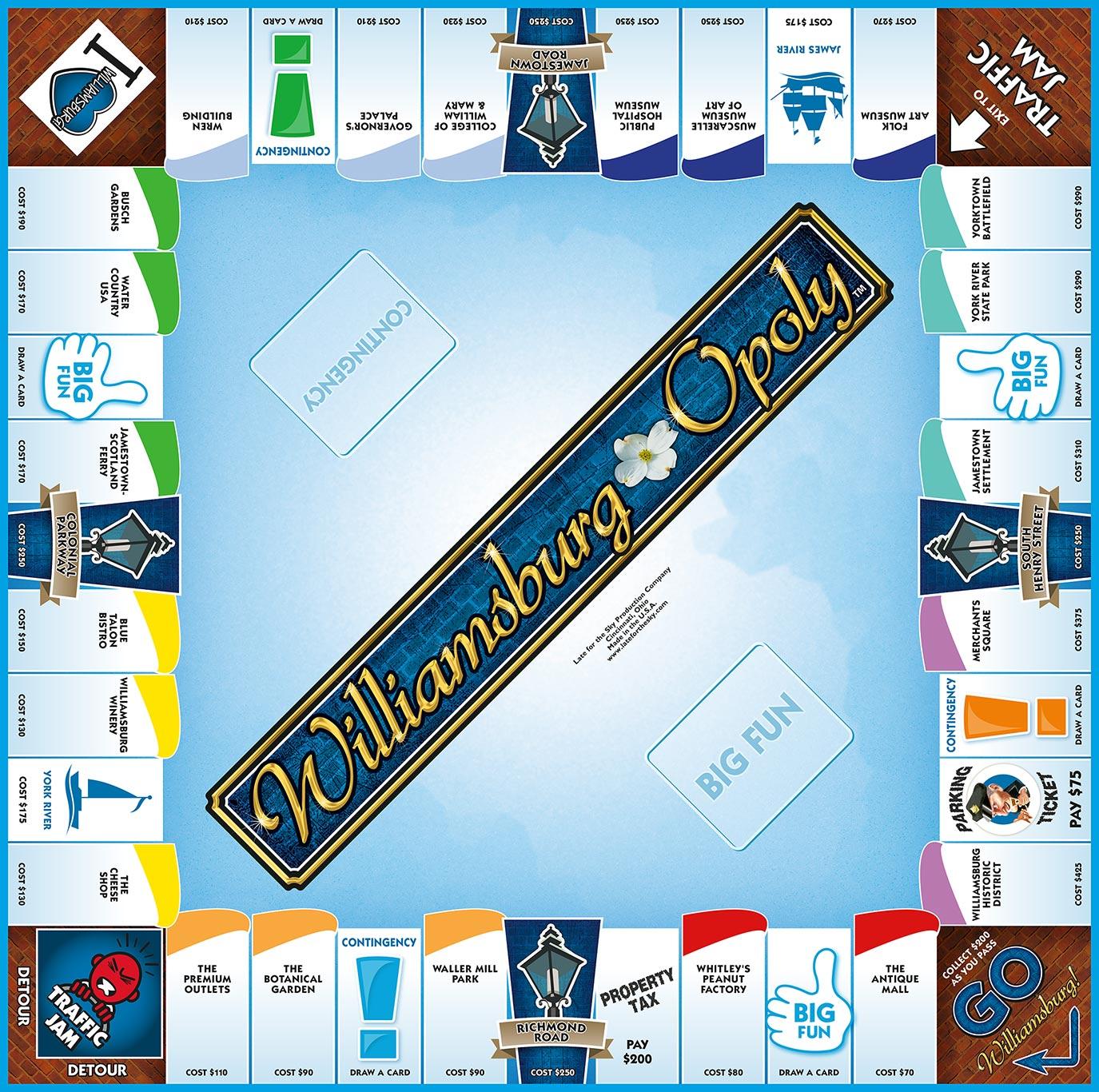 WILLIAMSBURG-OPOLY Board Game