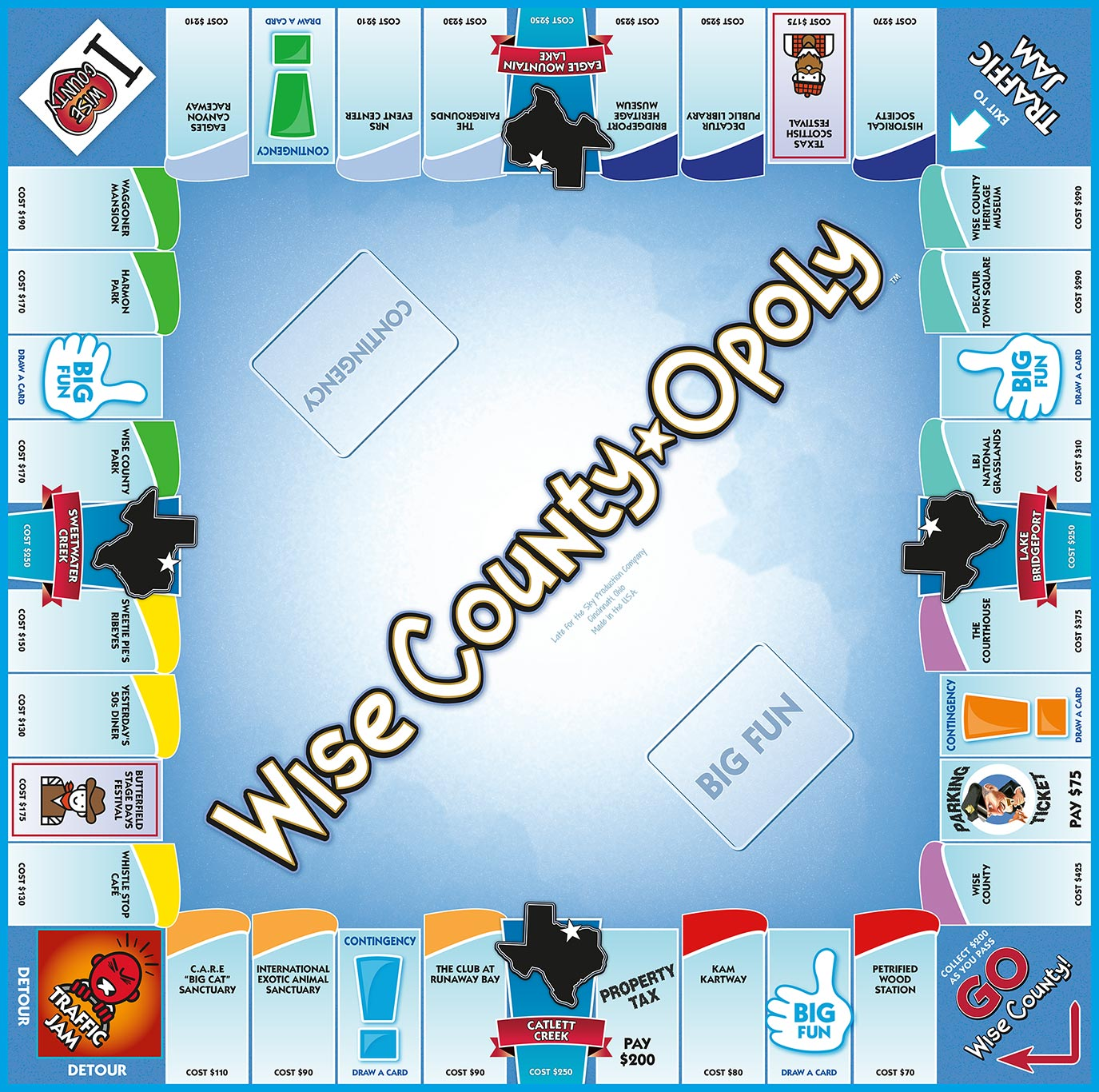 WISE COUNTY-OPOLY Board Game