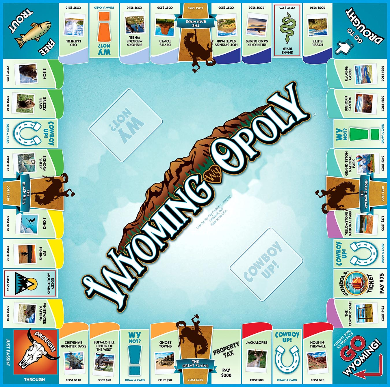 WYOMING-OPOLY Board Game